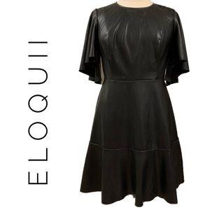 Eloquii Vegan Leather Black Dress